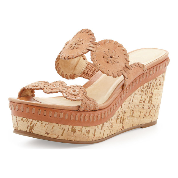 """JACK ROGERS Leigh Cork Wedge Slide - Whipstitched leather upper and midsole. 3"""" cork wedge with..."""
