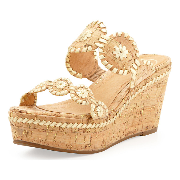 JACK ROGERS Leigh Double-Strap Wedge Sandal - Synthetic cork and metallic leather. Two-strap stitched...