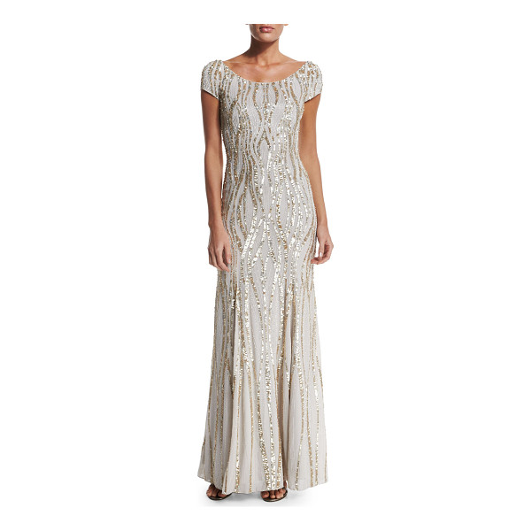 JENNY PACKHAM Cap-Sleeve Embellished Gown - Jenny Packham sequined georgette gown. Round neckline;...