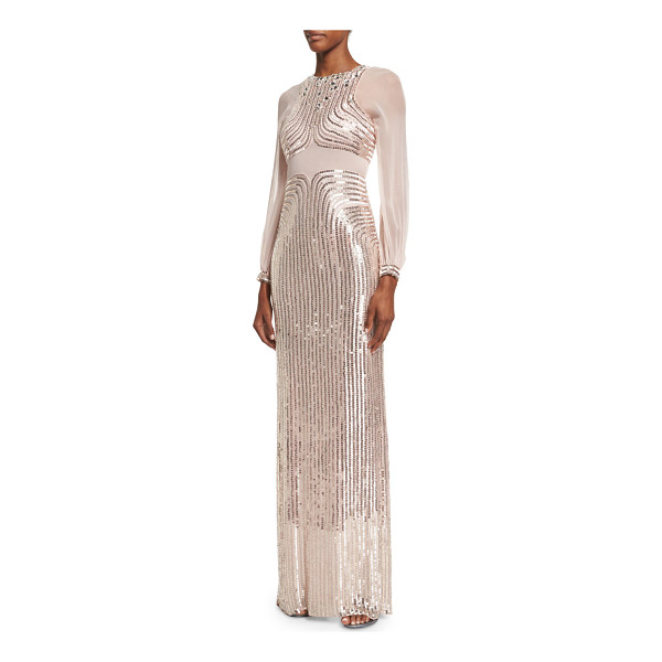 JENNY PACKHAM Sequined Long-Sleeve Column Gown - Jenny Packham sequined chiffon and satin gown. Jewel...