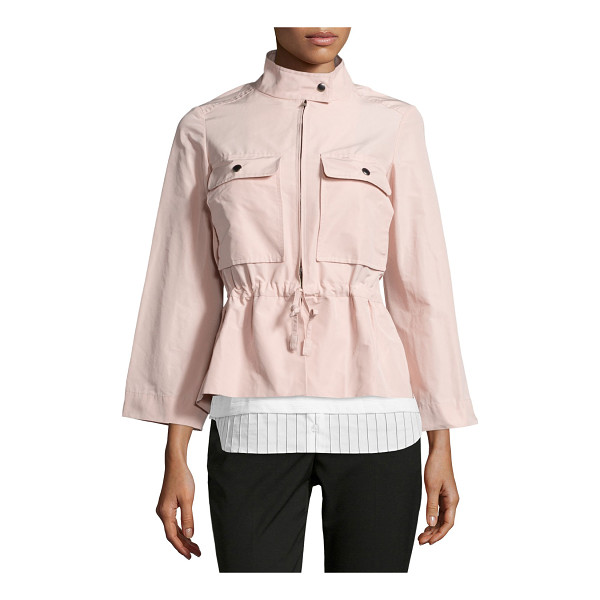 JIL SANDER NAVY Drawstring-Waist Sporty Jacket - Jil Sander Navy faille jacket. Stand collar; tab-snap...
