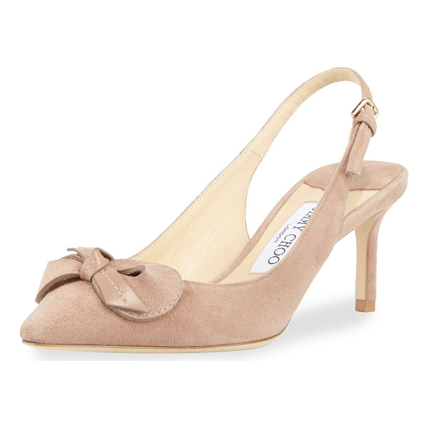 """JIMMY CHOO Blare Slingback 60mm Pump - Jimmy Choo """"Blare"""" suede pump with bow detail. 2.4"""" covered..."""