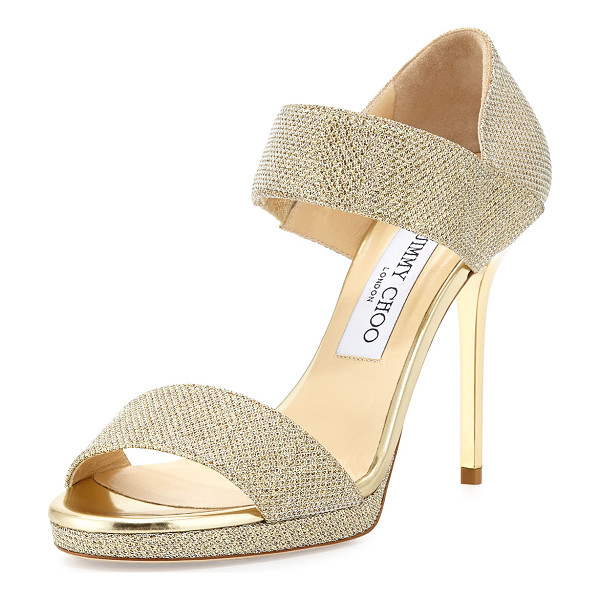JIMMY CHOO Alana Glitter Double-Band Sandal - Jimmy Choo glitter fabric sandal. Metallic leather trim. 4""
