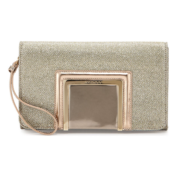 JIMMY CHOO Alara Glitter Lamé Clutch Bag - Jimmy Choo glitter lam clutch bag. Detachable wristlet