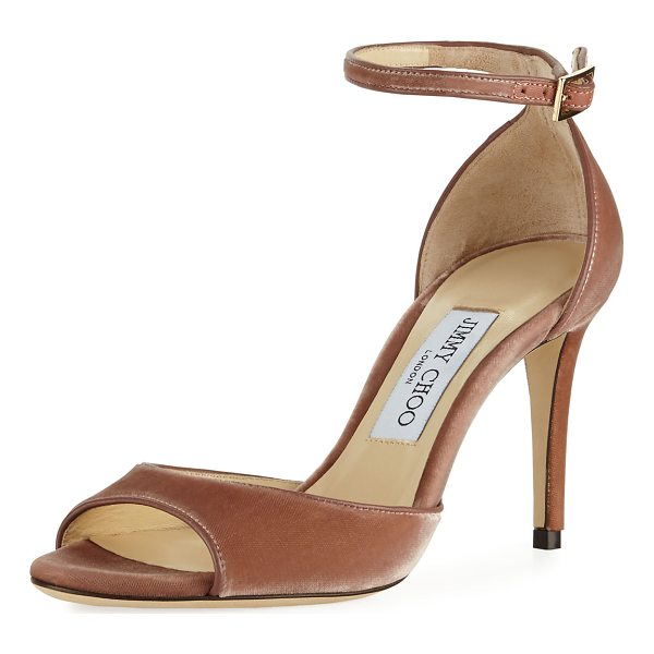 "JIMMY CHOO Annie Velvet 85mm City Sandal - Jimmy Choo velvet city sandal. 3.3"" covered stiletto heel...."