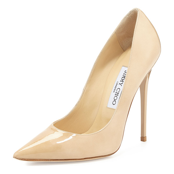 "JIMMY CHOO Anouk Patent Leather Pump - Jimmy Choo patent leather pump. 4.8"" stiletto heel. Pointed"