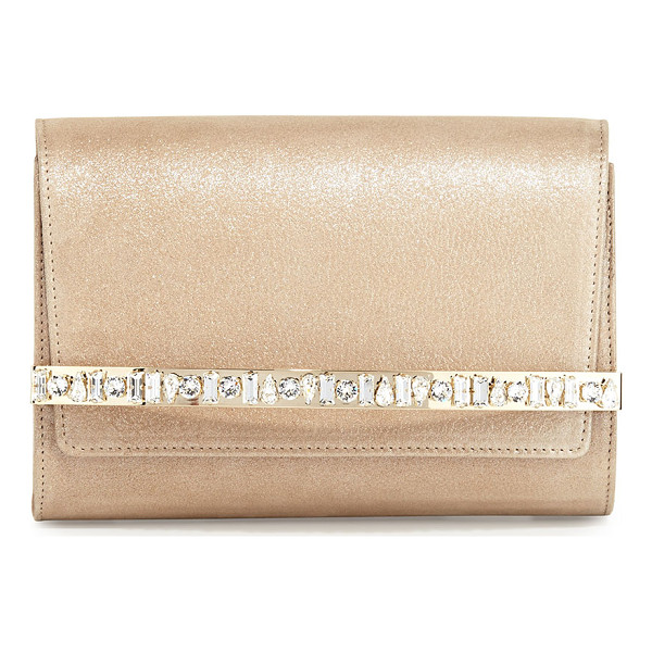 JIMMY CHOO Bow Crystal-Bar Clutch Bag - Jimmy Choo napa leather clutch bag. Golden hardware. Flap...