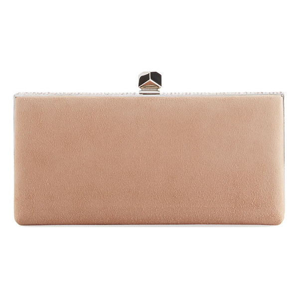 JIMMY CHOO Celeste Suede Box Clutch Bag - Jimmy Choo suede hard shell clutch bag. Removable chain...