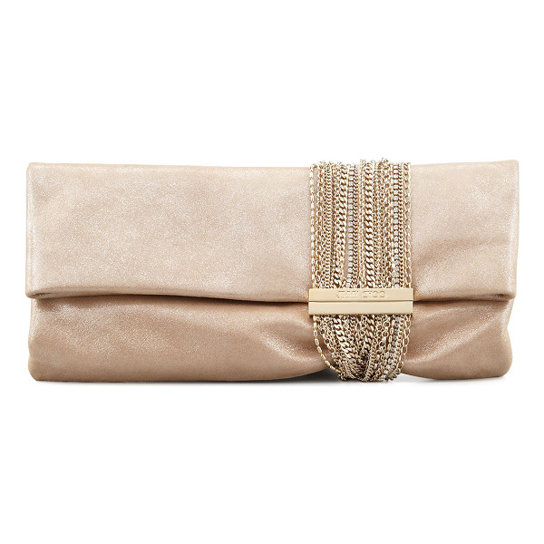 JIMMY CHOO Chandra Shimmer Suede Chain Clutch Bag - Shimmery sheepskin suede with golden chain and crystal...