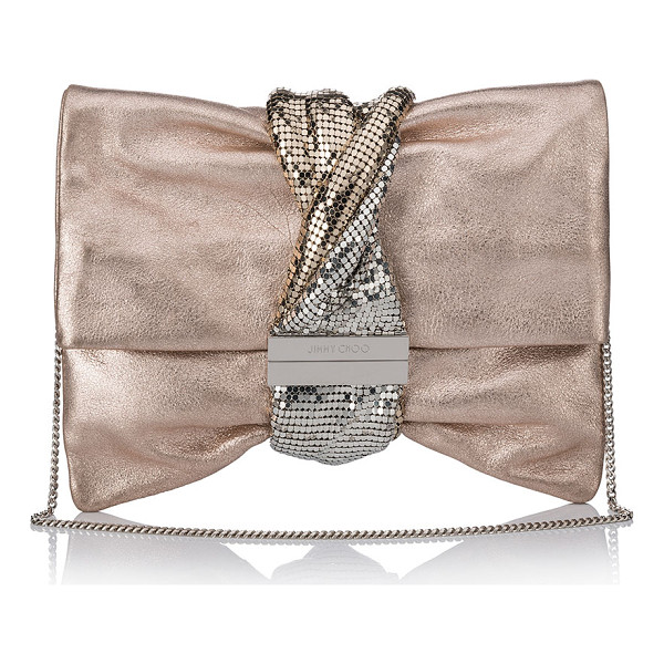 JIMMY CHOO Chandra/M Metallic Clutch Bag - Jimmy Choo leather clutch bag with twisted chainmail