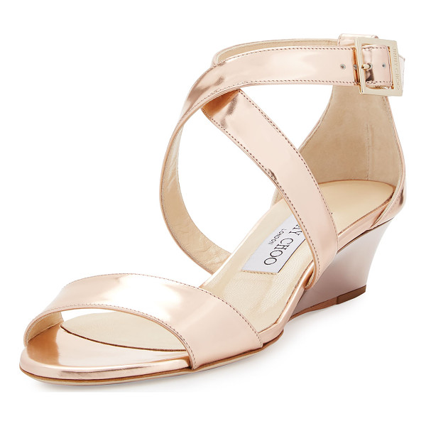 "JIMMY CHOO Chiara Mirrored Crisscross Wedge Sandal - Jimmy Choo metallic mirrored leather sandal. 1.5"" covered"
