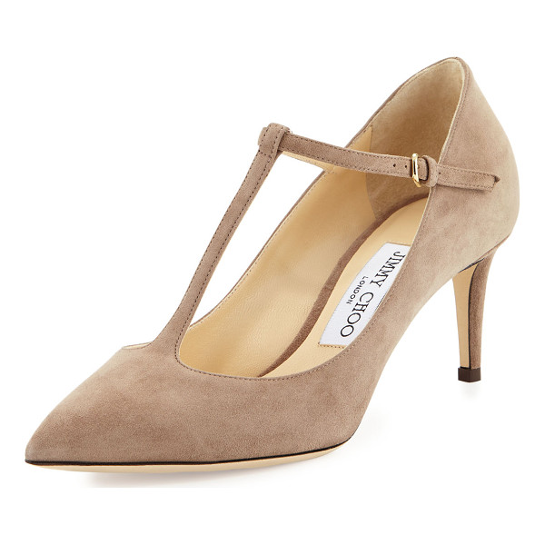 "JIMMY CHOO Daria Suede T-Strap 65mm Pump - Jimmy Choo suede pump. Available in multiple colors. 2.5""..."