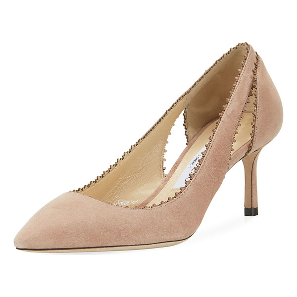 "JIMMY CHOO Diva Suede Cutout 60mm Pump - 2.4"" covered heel. Pointed toe. Laser-cut collar. Cutout at..."