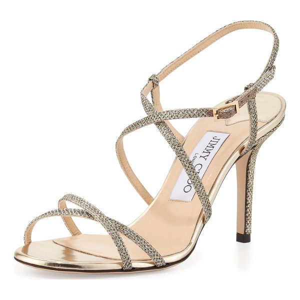 JIMMY CHOO Elaine Strappy Glitter Sandal - Glitter fabric sandal by Jimmy Choo. Straps crisscross over