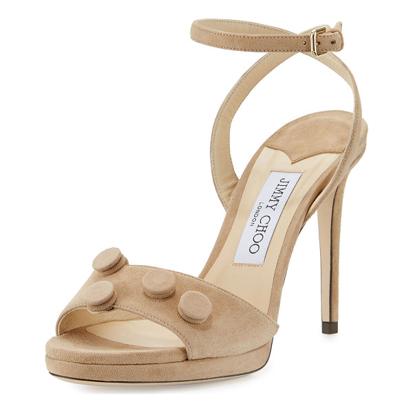 "JIMMY CHOO Electra Suede Button 100mm Sandal - Jimmy Choo suede sandal. 4"" covered heel. Strap bands open..."