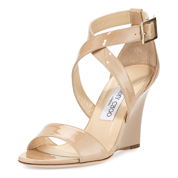 "JIMMY CHOO Fearne Patent Crisscross Wedge Sandal - Jimmy Choo patent leather sandal. 3.5"" covered wedge heel."