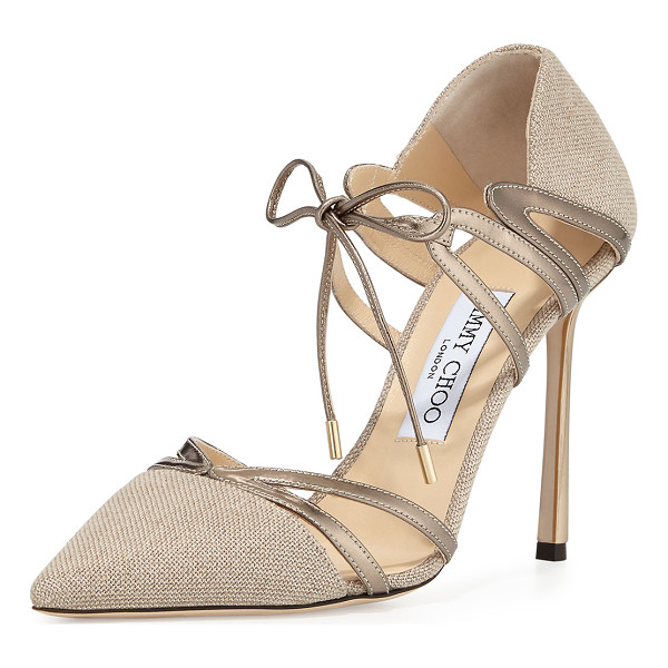 JIMMY CHOO Hime 100mm Canvas d'Orsay Pump - Jimmy Choo metallic canvas pump with mirrored leather trim....