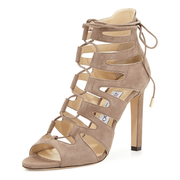 "JIMMY CHOO Hitch Caged Suede Sandal - Jimmy Choo suede caged sandal. 4"" covered heel. Open toe...."