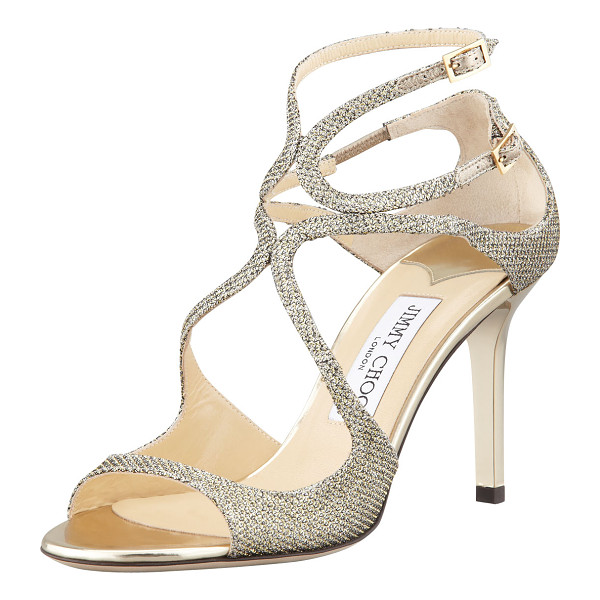 JIMMY CHOO Ivette Glitter Fabric Crisscross Sandal - Glitter fabric sandal with arced straps over vamp. Two...