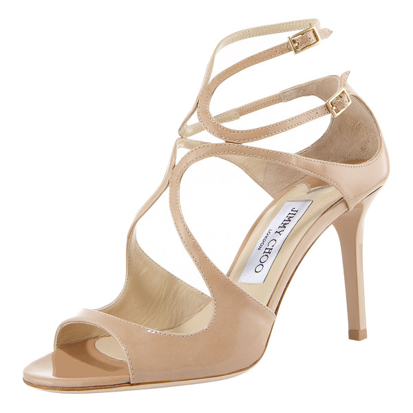 JIMMY CHOO Ivette Patent Sandal - Patent leather sandal with arced straps over vamp. Two...