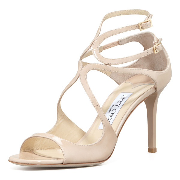 JIMMY CHOO Ivette Strappy Patent Sandal - Patent leather sandal with arced straps over vamp. Two...