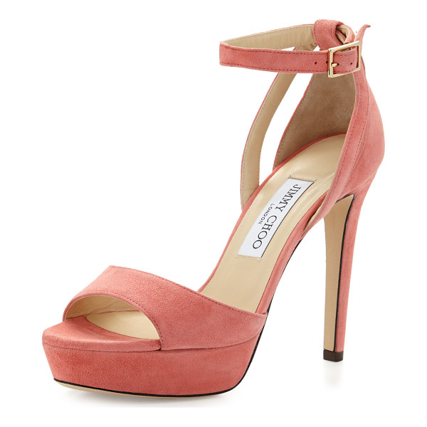 "JIMMY CHOO Kayden Suede Ankle-Wrap Sandal - Jimmy Choo suede sandal. 4.5"" covered heel; 1"" platform;"