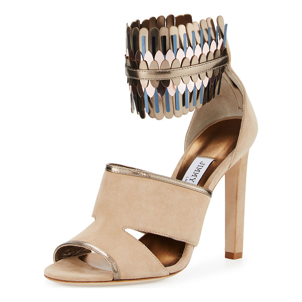 JIMMY CHOO Klara Suede Ankle-Wrap 110mm Sandal - ONLYATNM Only Here. Only Ours. Exclusively for You. Jimmy