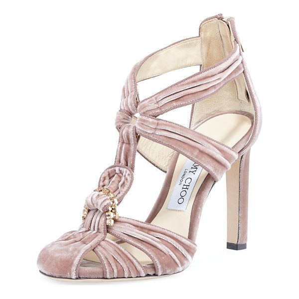 JIMMY CHOO Krissy Embellished Velvet Sandal - EXCLUSIVELY AT NEIMAN MARCUS Jimmy Choo ridged velvet...