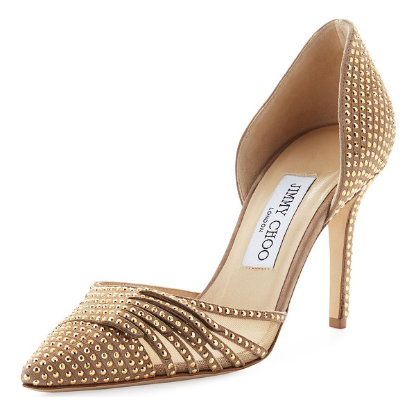 "JIMMY CHOO Kyra Studded 85mm d'Orsay Pump - Jimmy Choo studded suede pump with mesh side. 3.3"" covered"