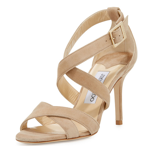 "JIMMY CHOO Louise Suede Crisscross 85mm Sandal - Jimmy Choo suede sandal. 3.3"" covered heel. Open toe."
