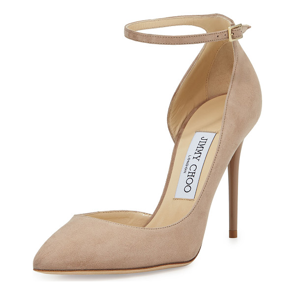 "JIMMY CHOO Lucy Half-d'Orsay Suede Pump - Jimmy Choo suede pump. 4"" lacquered stiletto heel. Pointed"