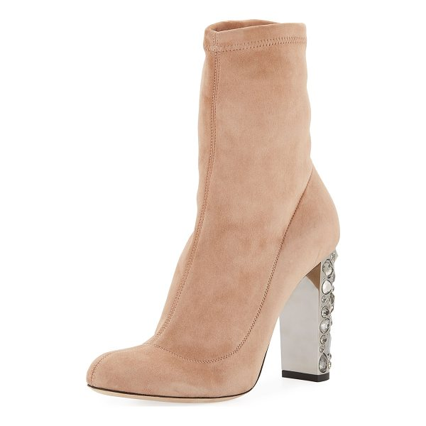 """JIMMY CHOO Maine Stretch Suede Bootie with Crystal Heel - Jimmy Choo stretch-suede bootie. 4"""" jeweled covered heel...."""