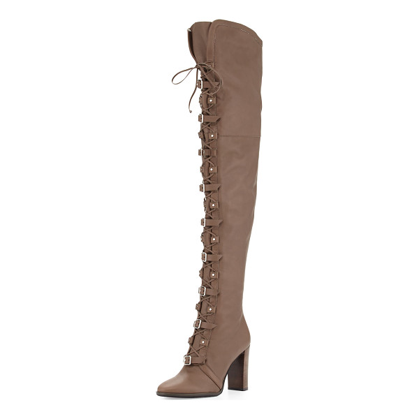 JIMMY CHOO Maloy Leather 95mm Over-the-Knee Boot - Jimmy Choo leather moto-style over-the-knee boot. 3.8""