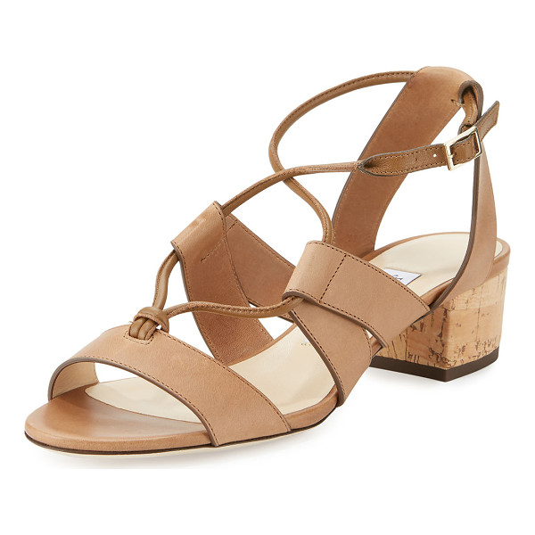 JIMMY CHOO Margo Leather Crisscross 40mm Sandal - Jimmy Choo vachetta leather sandal. Available in multiple