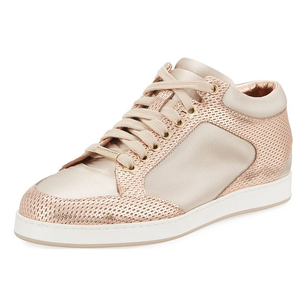 JIMMY CHOO Miami Metallic Leather/Satin Sneaker - Jimmy Choo perforated leather sneaker with contrast satin...