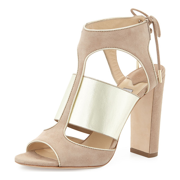"""JIMMY CHOO Moira suede ankle-tie sandal - Jimmy Choo suede sandal with metallic leather trim. 4""""..."""