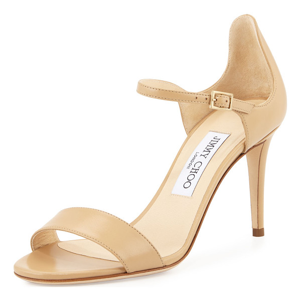 "JIMMY CHOO Moxy 85mm leather sandal - Jimmy Choo kid leather sandal. 3. 3"" covered heel. Strap..."