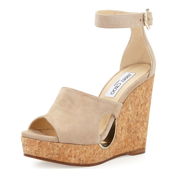 "JIMMY CHOO Neyo Suede/Cork Ankle-Wrap Wedge Sandal - Jimmy Choo suede sandal. 4.8"" cork wedge heel; 1.1""..."