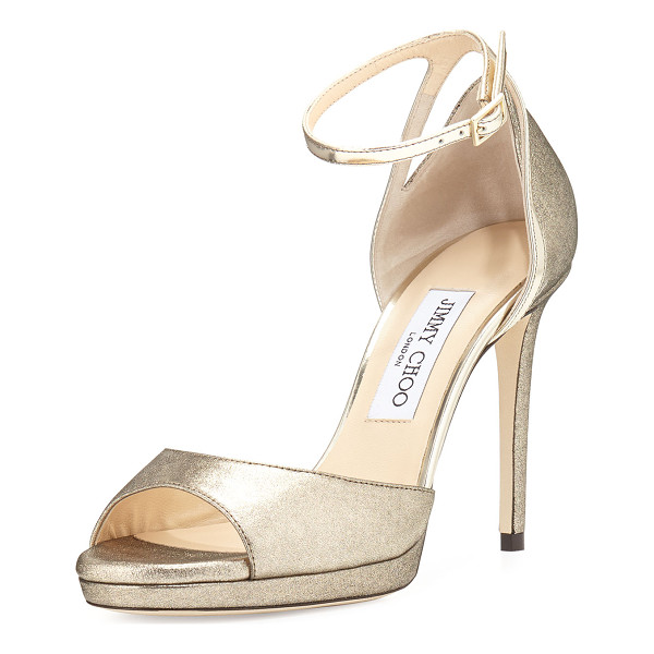 JIMMY CHOO Pearl Leather 100mm Sandal - Jimmy Choo d'Orsay sandal in shimmery leather with mirrored