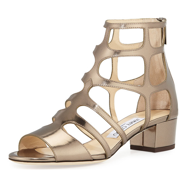 "JIMMY CHOO Ren Mirrored Caged 35mm Sandal - Jimmy Choo mirrored leather sandal. 1.5"" covered block"