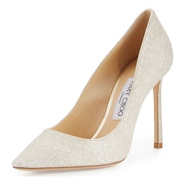 "JIMMY CHOO Romy Glitter Pointed-Toe 100mm Pump - Jimmy Choo dusty glitter fabric pump. 4"" covered heel."