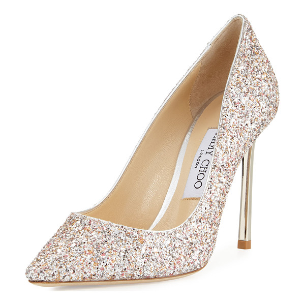 "JIMMY CHOO Romy Glitter Pointed-Toe 100mm Pump - Jimmy Choo speckled glitter suede pump. 4"" covered heel...."