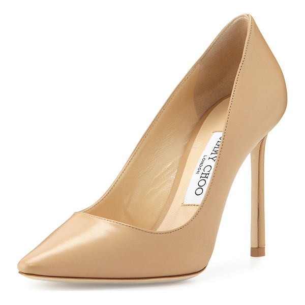 "JIMMY CHOO Romy Leather 100mm Pump - Jimmy Choo kid leather pump. 4"" covered heel. Pointed toe...."