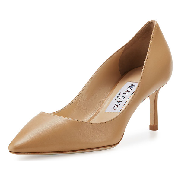 """JIMMY CHOO Romy Leather Pointed-Toe 60mm Pump - Jimmy Choo kid leather pump. 2.4"""" covered heel. Pointed..."""