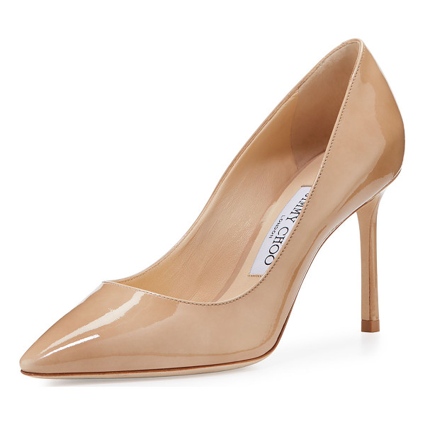 "JIMMY CHOO Romy Patent Pointed-Toe 85mm Pump - Jimmy Choo patent leather pump. 3.5"" covered stiletto heel...."