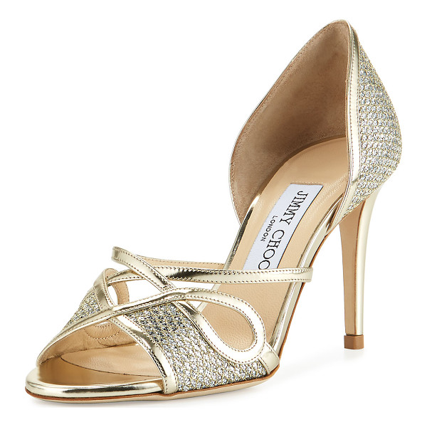 JIMMY CHOO Trixie Glitter d'Orsay 85mm Sandal - Jimmy Choo glitter fabric evening sandal with metallic napa...