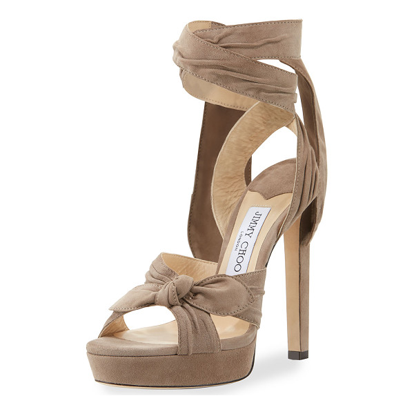 "JIMMY CHOO Vixen Suede Ankle-Wrap 130mm Sandal - Jimmy Choo pleated suede sandal. 5.1"" covered heel; 1""..."
