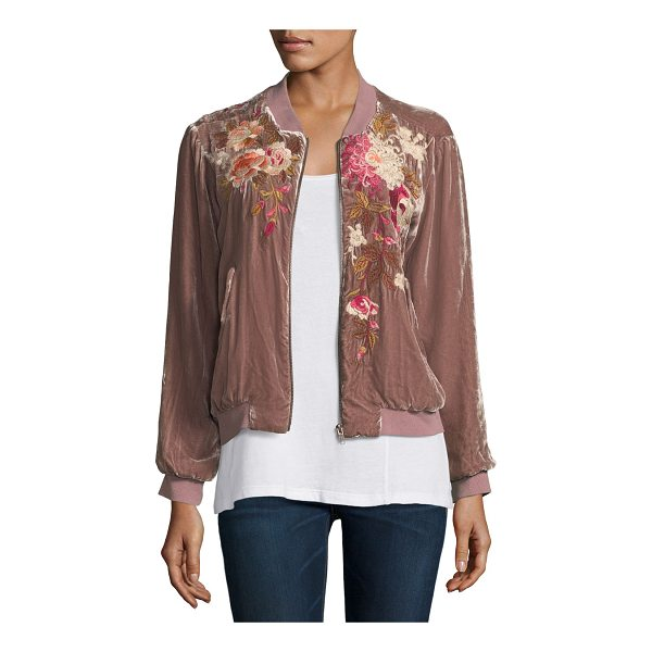 "JOHNNY WAS Chrys Velvet Embroidery Bomber Jacket - Johnny Was ""Chrys"" bomber jacket in velvet with floral..."