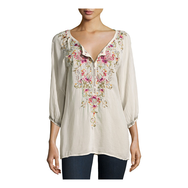 """JOHNNY WAS Moon 3/4-Sleeve Embroidered Blouse - Johnny Was Collection """"Moon"""" blouse in embroidered..."""