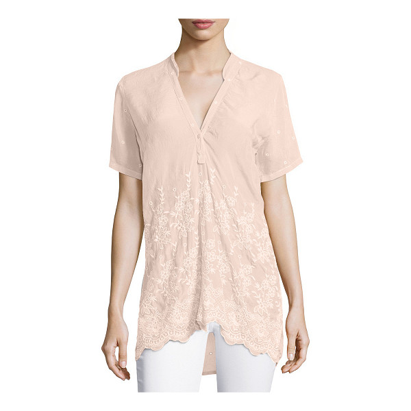 """JOHNNY WAS Tulia short-sleeve embroidered georgette blouse - Johnny Was Collection """"Tulia"""" blouse in slightly crinkled..."""